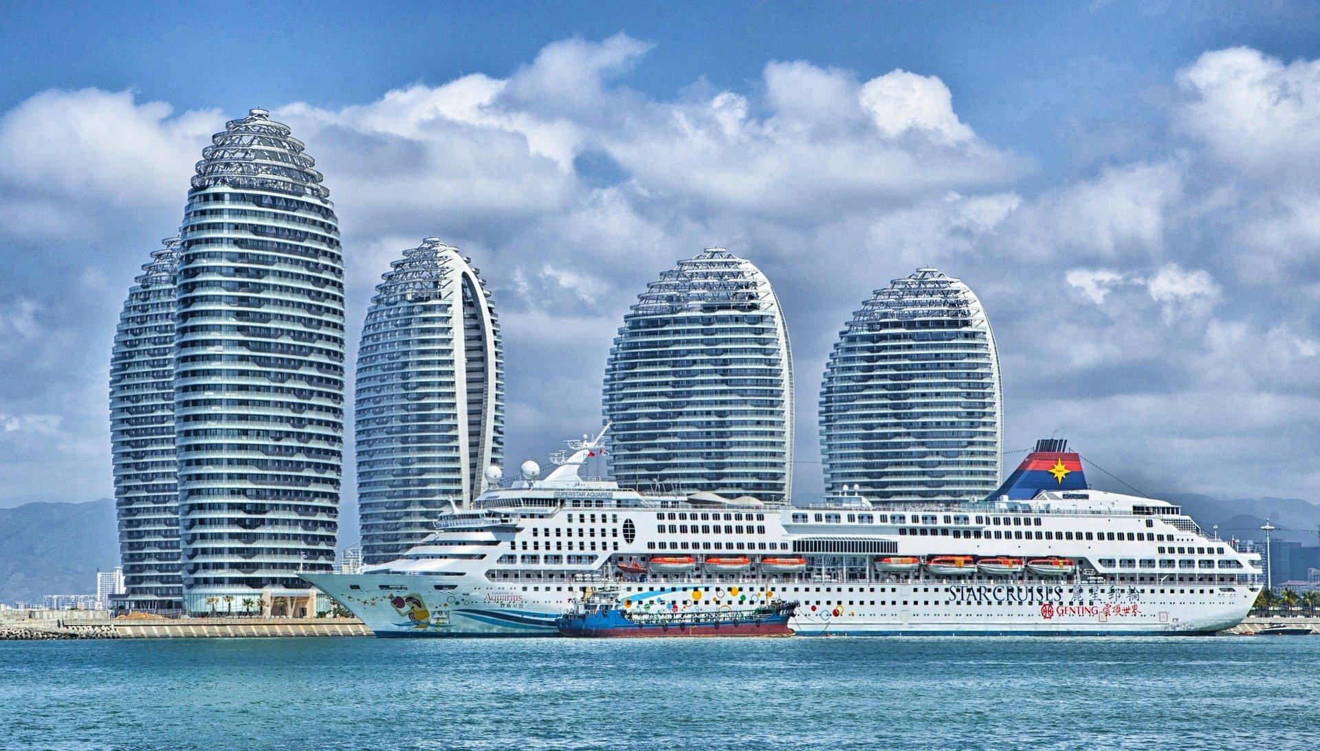 Hainan skyscrapers ans ship